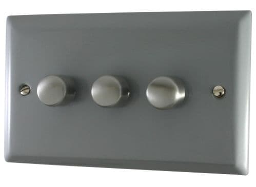 G&H SLG13 Spectrum Plate Light Grey 3 Gang 1 or 2 Way 40-400W Dimmer Switch